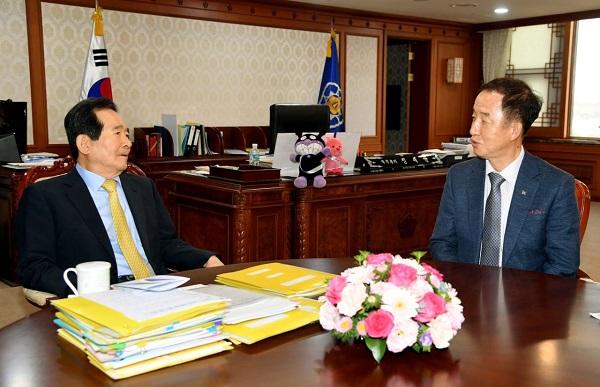 김사열 국가균형발전위원장, 정세균 국무총리 환담 사진